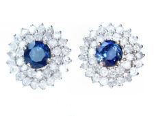 5,58 ct Ceilán Zafiro & Diamante Pendientes en 12K Blanco