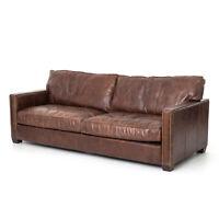 """88"""" Long Adalgisa Sofa Cigar Top Grain Leather Solid Ash Iron Solid Ash"""