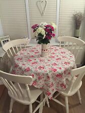 Cath Kidston White Rosali Floral Red Shabby Chic Tablecloth Fabric 1.2m Square