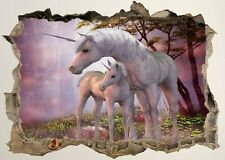 Unicorn Horse Fantasy Bedroom 3d Smashed Wall View Sticker Poster Vinyl Z680