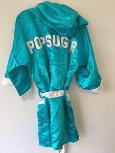 Boxing Robe 👘 Gillette + Popsugar Collab  Tiffany Blue Sz S RARE! Satin Hooded