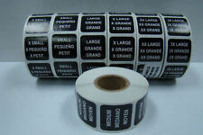 500 Labels of 1x1 RCR Black LARGE Size Clothing Retail Stickers Rolls