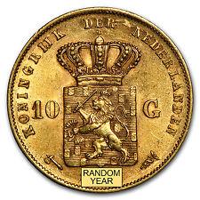 1875-1889 Netherlands Gold 10 Guilders Willem AU