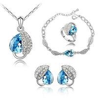 Fashion Rhinestone Jewelry Sets Necklace + Earring+Bracelet + Ring Crystal Set