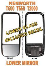 Kenworth T600 T660 T2000 Peterbilt 387 Lower Mirror Glass & Bezel (#M015399)