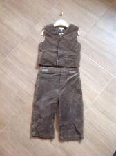 Monsoon Boys Velvet Feel Cotton Suit Age 12/18 Months Vgc Brown Trousers Waistco