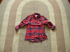 NWT JUSTICE GIRLS PLAID L/S BUTTON UP SHIRT 6 RED/NAVY