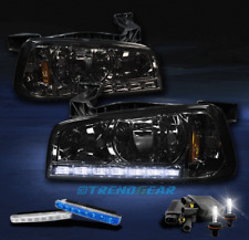 2006-2010 DODGE CHARGER LED CRYSTAL SMOKE HEAD LIGHT W/6000K HID+BLUE DRL SIGNAL