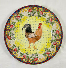 """American Atelier PETITE PROVENCE 8.25"""" Salad Luncheon Rooster Plate Yellow"""