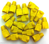 PACK OF 20 YELLOW RJ45 SNAGLESS NETWORK CABLE PLUG HOODS BOOTS CAT5e CAT6