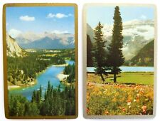 PAIR VINTAGE SWAP CARDS. CANADIAN ROCKY MOUNTAINS. BOW RIVER VALLEY, WILDFLOWERS