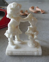 """Vintage Sandstone Little Girl with Baby Doll Figurine 4 1/2"""" Tall"""