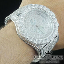 MEN WHITE GOLD FINISH AP STYLE FULL STAINLESS STEEL LAB DIAMOND ICED OUT WATCH