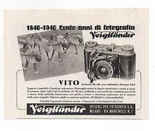 Pubblicità 1940 VOIGTLANDER VITO FOTO PHOTO old advert werbung publicitè reklame