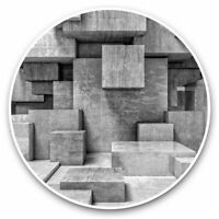2 x Vinyl Stickers 10cm (bw) - Concrete Cube Construction Abstract  #37233