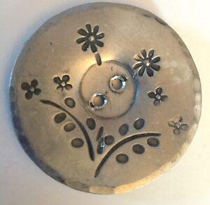 Large Old Aluminum Flowers Metal Button Vintage Botanical Incised Floral Design