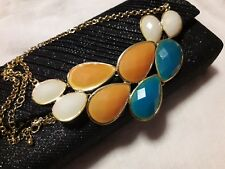 Orange, White, Teal faceted Cabochon gold tone necklace Bib Collar Statement