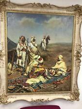 "ORIGINAL ""Le Bédouin"" Middle Eastern ARABIC ISLAMIC ART desert Peinture à l'huile"