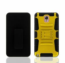 SAMSUNG GALAXY NOTE 3 BLACK RUBBERIZED CASE BELT CLIP HOLSTER STAND YELLOW