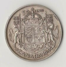 """1944 CANADA 50 CENTS HALF DOLLAR CIRCULATED """"WIDE DATE"""""""