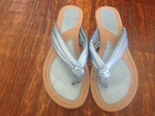 Shiny Metallic BLUE FABRIC 3-Band KNOT flat FLIP FLOP Sandals * sz 8 M * EUC