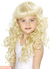 Girls Princess Blonde Curly Wig Childs Fairytale Kids Fancy Dress Accessory