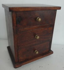 Trinket Indian-Rosewood Box with 3 Drawers and brass knobs.18x15x11cm