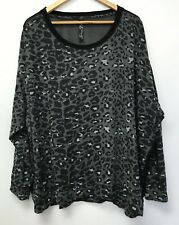 Seven Womens Size 18 20 Top Leopard Black Gray