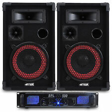 """2x Max 8"""" DJ PA Party Speakers Amplifier Cables Home System 500w Ssc2259"""