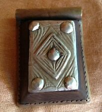 Antique Tuareg Amulet Talisman Prayer Box Wood Silver Brass