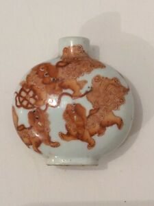 Antique Chinese Porcelain Snuff Bottle Finely Painted Dragons 6cm