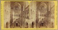 Francia Amiens Interno Cattedrale c1870 Foto Stereo Vintage Albumina