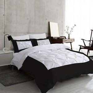 Two Tone 3 PC Pinch Pleated Duvet Set 1000 TC Egyptian Cotton All Size & Color