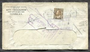 p1473 - VICTORIA 1922 Slogan on Cover to Vancouver. Returned. 3c Admiral ✉