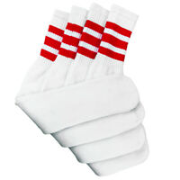 "4 Pairs White Tube Socks with Red Stripe Cotton 24"" Inches Long"