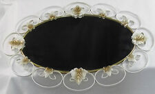 Art Nouveau Gothic Oval Mirror White & Frosted Gold Brass Scroll Ivy Leaves Rare
