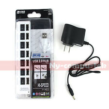 White 7 Port USB 2.0 Hub On/Off Switches + AC Power Adapter Cable For PC Laptop