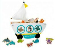 New Wooden Animal Rescue Boat Shape Sorter Push Along Toy Xmas Gift Toddler