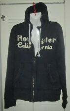 HOLLISTER ABERCROMBIE MENS DISTRESSED ZIP UP HOODIE Sz M BLUE thick heavy