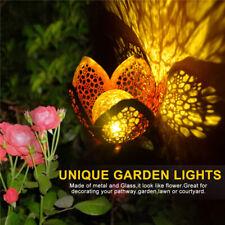 2Pack Solar Flower Light Outdoor Yard Warm White Garden Landscape Decor