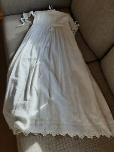 Pristine Victorian christening gown with full underskirt,pintuck and lace detail