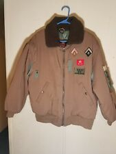 Vintage Bomber Jacket Coat Airplane Patches Pockets Brown Mens Large