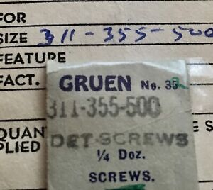 One Detent Screw for Gruen watch calibers 311 330 341 400 401 500 501 NOS part