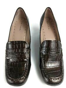 Tahari Dark Brown Reptile Print Leather Chunky Heel Size 8.5
