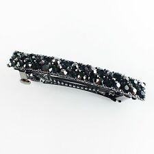USA BARRETTE Rhinestone Crystal Hairpin Clip Vintage Elegant Simple Black Gray