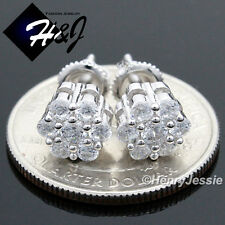 925 STERLING SILVER 8MM LAB DIAMOND ICED BLING ROUND SCREW BACK STUD EARRING*E68