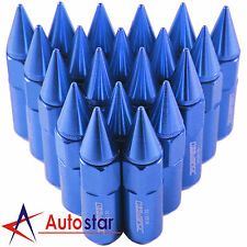 20PCS Blue Cap Spiked Extended Tuner Aluminum M12X1.5 60mm Wheel Rim Lug Nuts