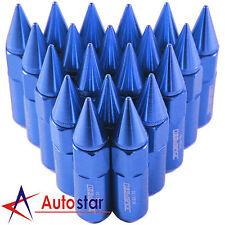 20PCS Blue Cap Spiked Extended Tuner Aluminum M12X1.5 60mm Wheel Rim Lug Nuts