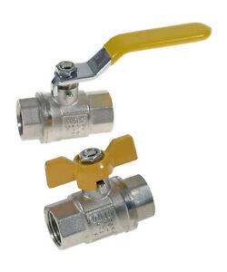 Nickle Plated Brass Ball Valves Female/Female Gas (EN331) and WRAS Approved