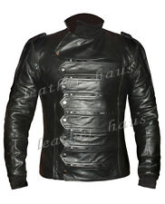Bucky Barnes Genuine Leather Captain America Winter Soldier Jacket & Vest #504